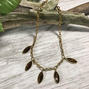 Vintage Monet Gold Chain Brown Pendant Necklace